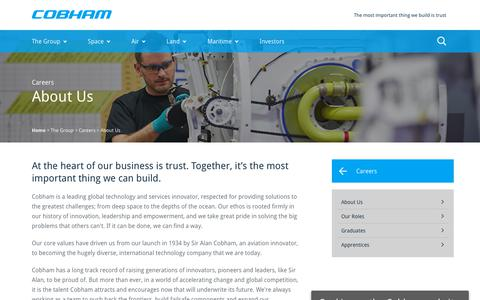 Screenshot of About Page cobham.com - Cobham plc, Careers, About Us - captured Aug. 4, 2018