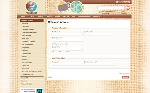 Screenshot of Signup Page premcrest.co.uk - Create New Customer Account | Premcrest - captured Sept. 30, 2014