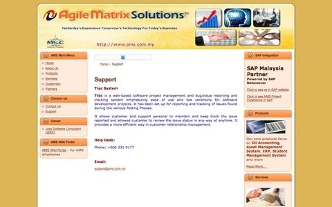 Screenshot of Support Page ams.com.my - Agile Matrix Solutions - captured Feb. 5, 2016