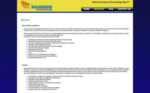 Screenshot of Services Page rainbowaccounting.com.au - Services - captured Oct. 27, 2014