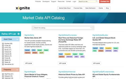Screenshot of Products Page xignite.com - Market Data API Catalog - captured July 4, 2016