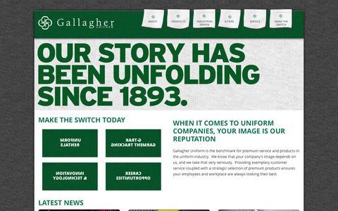 Screenshot of Home Page gallagheruniform.com - Looking for a reliable uniform rental company? Gallagher Uniform is here. - captured July 18, 2015