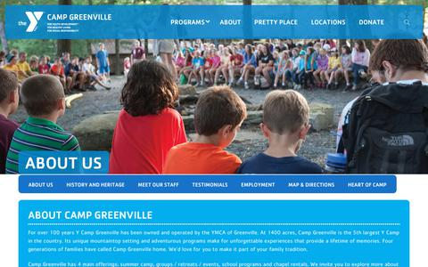 Screenshot of About Page campgreenville.org - About Us - YMCA Camp Greenville - captured Dec. 16, 2018