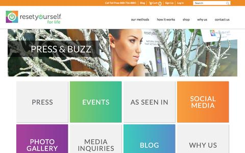Screenshot of Press Page resetyourself.com - Reset Yourself Press /Buzz - Why Us We have the tools and expertise to Transform your health! - captured Oct. 26, 2014
