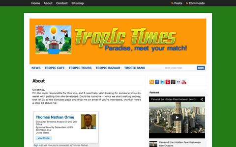 Screenshot of About Page tropictimes.com - About  : Tropic Times - captured Oct. 1, 2014