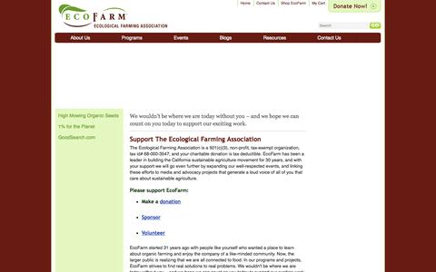 Screenshot of Support Page eco-farm.org - Support EcoFarm | Organic, Sustainable, Local Agriculture | Ecological Farming Association - captured Oct. 2, 2014