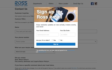 Screenshot of Contact Page rossstores.com - Contact Us - captured June 25, 2016
