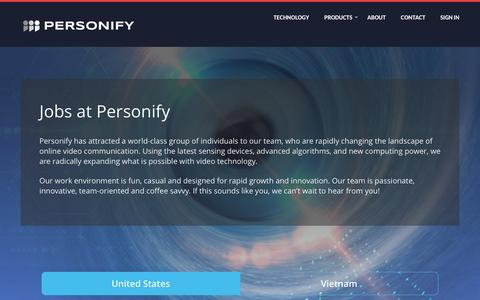 Screenshot of Jobs Page personify.com - Jobs at Personify - captured Sept. 30, 2016