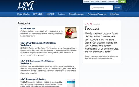 Screenshot of Products Page lsvtglobal.com - LSVT Global - Products - captured Oct. 1, 2014