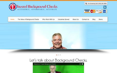 Screenshot of Home Page trustedbackgroundchecks.com - Trusted Background Checks - captured Oct. 9, 2014