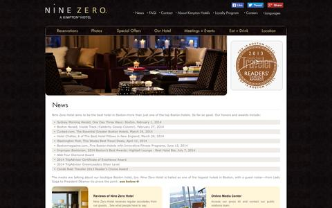 Screenshot of Press Page ninezero.com - Best Boston Hotels | Hotel News | Nine Zero Hotel, a Kimpton Hotel - captured Oct. 10, 2014