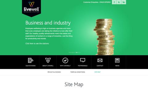 Screenshot of Site Map Page livewellvending.co.uk - Site Map « Livewell | Vending for every occasion Livewell | Vending for every occasion - captured Jan. 31, 2016