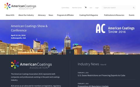 Screenshot of Home Page paint.org - American Coatings Association - captured Feb. 6, 2016