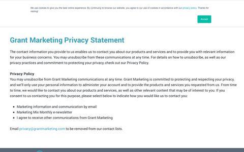 Screenshot of Privacy Page grantmarketing.com - Grant Marketing Privacy Statement - Grant Marketing - captured June 8, 2019