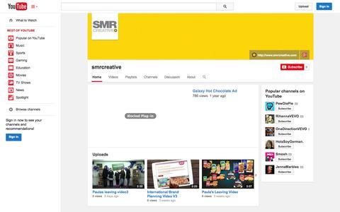Screenshot of YouTube Page youtube.com - smrcreative  - YouTube - captured Oct. 29, 2014