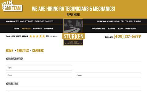 Screenshot of Jobs Page sturken.com - Careers - Sturken Auto Body - Auto and RV Repair - captured Nov. 18, 2018