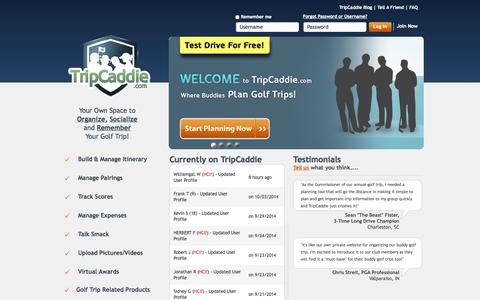 Screenshot of Home Page Site Map Page tripcaddie.com - TripCaddie | Where Buddies PLAN Golf Trips! - captured Oct. 8, 2014