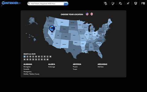 Screenshot of Locations Page contender.com - Find Tickets By State or Province - captured Oct. 10, 2014