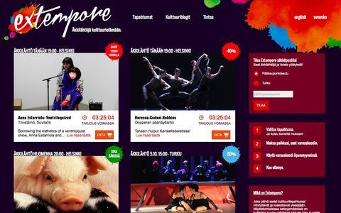 Screenshot of Home Page About Page Terms Page extempore.fi - Extempore.fi - Viime hetken liput ja sika säkissä -tarjoukset kulttuuriin, tekemistä illalla - captured Oct. 3, 2014