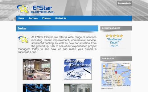 Screenshot of Services Page estarelectricinc.com - E*Star Electric - Commercial Electrical Services - captured Sept. 26, 2014