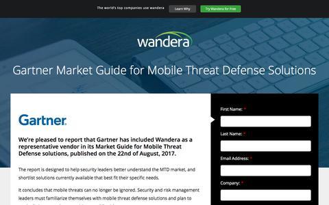 Screenshot of Landing Page wandera.com - Gartner Market Guide | wandera - captured Sept. 2, 2017