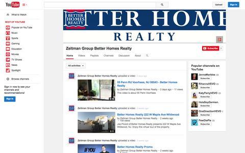 Screenshot of YouTube Page youtube.com - Zeltman Group Better Homes Realty  - YouTube - captured Nov. 3, 2014