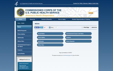 Screenshot of Press Page usphs.gov captured June 24, 2017