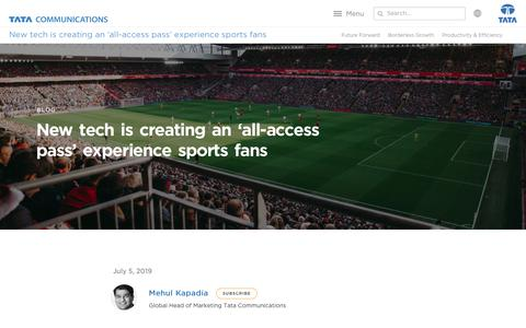 Screenshot of Testimonials Page tatacommunications.com - New Tech is Creating an all Access Pass Experience Sports Fans   Tata Communications - captured Dec. 18, 2019