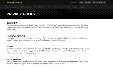 Screenshot of Privacy Page teamgearinc.com - About Team Gear - captured Sept. 21, 2018