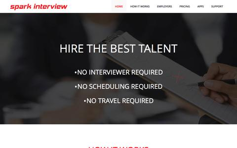 Screenshot of Home Page sparkinterview.com - Spark Interview,Video interview,Online interview,Online video interview,Online Interview,Online Recruitment - captured Sept. 30, 2014