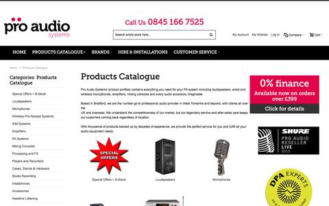 Screenshot of Products Page proaudiosystems.co.uk - Products Catalogue   PA Systems   Wired & Wireless Microphones   Loudspeakers   Pro Audio Systems - captured Jan. 27, 2016