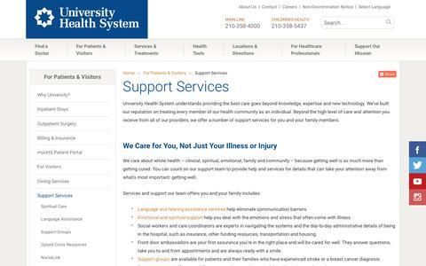 Screenshot of Support Page universityhealthsystem.com - Support Services | University Health System - captured Sept. 20, 2018