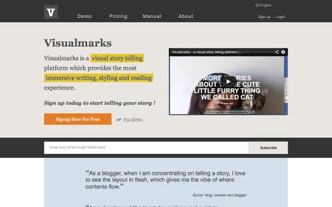 Screenshot of Home Page visual-marks.com - Visualmarks - visual story telling done right ! - captured Sept. 12, 2014