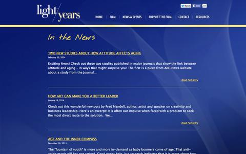 Screenshot of Press Page lightyearsfilm.com - In The News | Light Years - captured Oct. 2, 2014