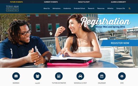 Screenshot of Home Page tamuc.edu - Texas A&M University-Commerce - captured Nov. 17, 2015