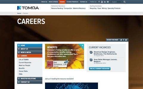 Screenshot of Jobs Page tomra.com - TOMRA : Careers - captured Sept. 19, 2014