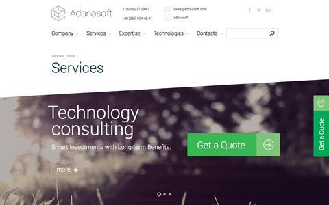 Screenshot of Services Page adoriasoft.com - Custom Software Development Services | Adoriasoft - captured May 20, 2017