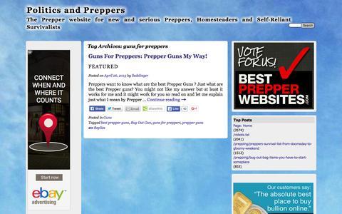 Screenshot of politicsandpreppers.com - guns for preppers | Politics and Preppers - captured April 14, 2016