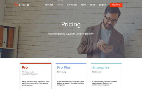 Screenshot of Pricing Page smarp.com - Pricing | Smarp - captured July 13, 2018