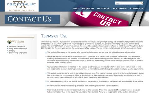 Screenshot of Terms Page delex.com - Delex Systems, Inc | Terms of Use - captured Nov. 3, 2014