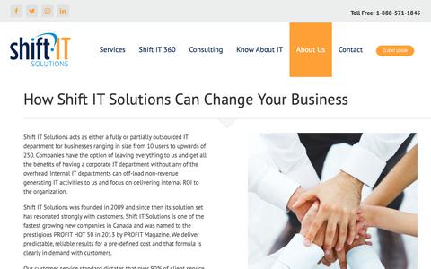 Screenshot of About Page shift-it-solutions.com - About - Shift IT - Toronto IT Support & Services - captured Oct. 20, 2018