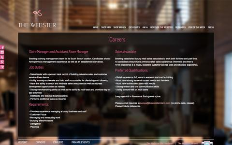 Screenshot of Jobs Page thewebstermiami.com - Careers | The Webster Miami - captured Oct. 9, 2014