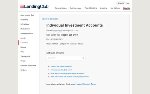 Investing Contact Us - Lending Club