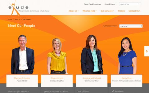 Screenshot of Team Page exudeinc.com - Our People | eXude Inc. - captured Sept. 30, 2014