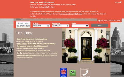 Screenshot of Home Page reemhotel.com - 3-star hotel in the area of Bayswater near Hyde Park - The Reem, LONDON - captured Sept. 18, 2015