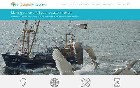 Screenshot of About Page coastalmatters.com - Coastalmatters - making sense of your coastal matters - captured Oct. 8, 2014