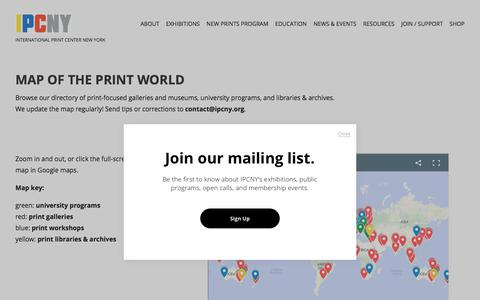 Screenshot of Maps & Directions Page ipcny.org - Map of the Print World — International Print Center New York - captured Nov. 11, 2019