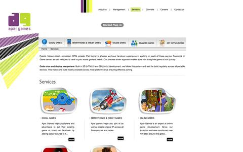 Screenshot of Services Page apargames.com - Apar Games: Developer of 2D, 3D, single-player, multiplayer and downloadable casual games - captured Oct. 27, 2014