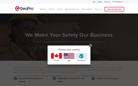 Screenshot of About Page geoprosolutions.com - Roadpost is Your Work Alone Safety Partner – International - captured Sept. 27, 2018