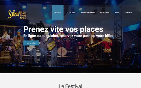 Screenshot of Home Page swing-sous-les-etoiles-miribel.com - Swing Sous Les Etoiles Miribel - Festival de musique en plein air à Miribel dans l'Ain près de Lyon. - captured July 11, 2018